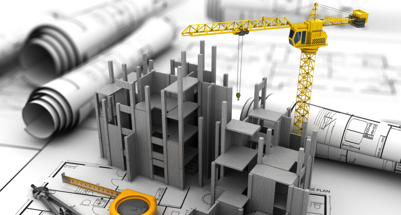 abstract 3d illustration of construction over blueprints